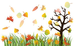 Autumn illustration. Colorful autumn leaves on the green grass and tree illustration Royalty Free Stock Images