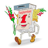 Autumn illustration, Cheerful tear-off calendar September 1, c Royalty Free Stock Images