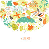 Autumn illustration. Color leaves and branches Stock Illustration