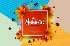 Autumn Illustration with Colorful Falling Leaves, Chestnut and Lettering on Abstract Colorful Background. Autumnal. Vector Design for Greeting Card, Banner stock illustration