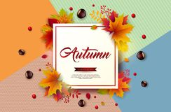 Autumn Illustration with Colorful Falling Leaves, Chestnut and Lettering on Abstract Colorful Background. Autumnal. Vector Design for Greeting Card, Banner royalty free illustration