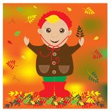 Autumn illustration with cute child with leaf in a hand Stock Photo
