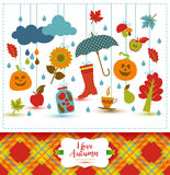 Autumn illustration with flat icons. Bright vector background ab Royalty Free Stock Image