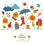 Autumn illustration with flat icons. Bright vector background ab Stock Photography