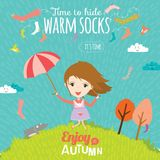 Autumn illustration with happy kids Stock Photography