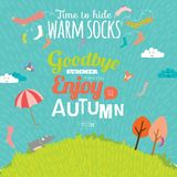 Autumn illustration with happy kids Stock Images
