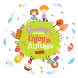 Autumn illustration with happy kids Royalty Free Stock Photography
