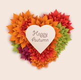 Autumn illustration - heart shape leaves background Royalty Free Stock Photos