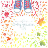 Autumn illustration with motley leaves and boots. Royalty Free Stock Photo