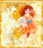 Autumn illustration. Portrait of girl Stock Image