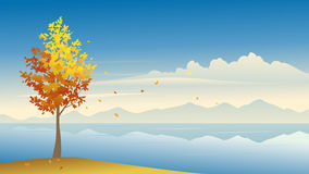 Autumn. Illustration of a river autumn background Stock Photography