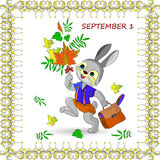 Autumn illustration on September 1 in a frame, a hare goes to sc Stock Image