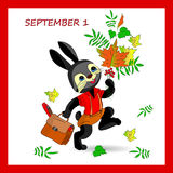 Autumn illustration on September 1 in a red frame, black rabbit Royalty Free Stock Photo