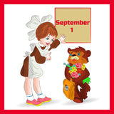 Autumn illustration on September 1 in a red frame, schoolgirl an. D a bear, a cartoon on a white background.vector Royalty Free Stock Photo