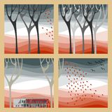 Autumn illustration. Set of four autumn illustrations - autumn trees, fall of the leaves and birds fly to warmer climes Royalty Free Stock Photos