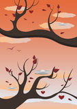 Autumn. The image is full of autumn mood representing autumn branches of trees with red leaves Stock Photo