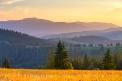 Free Autumn In Mountains. Vivid Mountain Hills At The Sunset. Royalty Free Stock Photography - 124954607