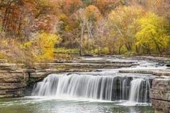 Autumn Indiana Waterfall immagine stock