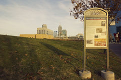 Autumn in Indianapolis in Indiana. Historic National Road sign in the park in Indianapolis in Indiana royalty free stock photos