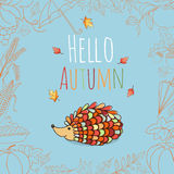 Autumn invitation card. Stock Photo