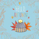 Autumn invitation card. Royalty Free Stock Image