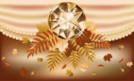 Autumn invitation card with precious gemstone. Vector illustration Royalty Free Stock Image