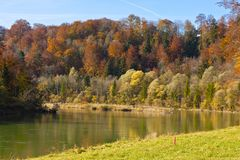 Autumn at the Isar, Bavaria, Germany Royalty Free Stock Photo