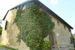 Autumn in italy - farmer house. Farmer house in Italy near the lake Como - Lecco - Montevecchia royalty free stock image