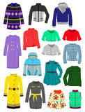Autumn jackets and raincoats. Set of autumn and spring jackets and raincoats isolated on white background Royalty Free Stock Photos