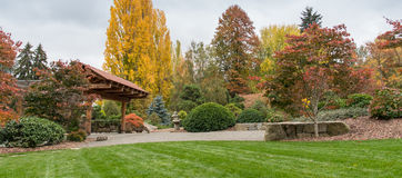 Autumn Japanese garden in Seattle Stock Photo