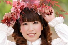Autumn japanese girl Stock Images