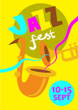 Autumn Jazz Festival Vector Concept Immagini Stock
