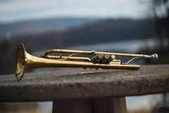 Jazz Trumpet Nature. Autumn jazz instrument trumpet standing alone in nature Stock Image