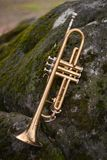 Jazz Trumpet Nature. Autumn jazz instrument trumpet standing alone in nature Stock Photography