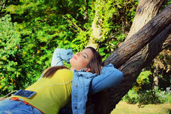 Autumn, jeans girl outside Stock Photography