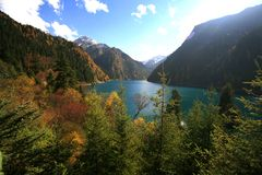 Autumn in Jiuzhaigou. Mountain, lake and hills in autumn in Jiuzhaigou Stock Photo