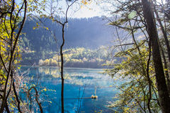 Autumn in Jiuzhaigou, Sichuan, China. Jiuzhai Valley or Jiuzhaigou National Park is located in the Aba Tibetan and Qiang Autonomous Prefecture of Sichuan stock photography