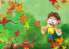 Autumn Joy. Reflects the joy children feel when the first leaves of Autumn fall royalty free illustration