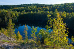 Autumn in Karelia. Fall on the river in Karelia Stock Images