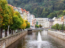 Autumn in Karlovy Vary (Karlsbad), Czech Republic. Tepla river,homes and autumn trees in Karlovy Vary (Karlsbad), Czech Republic Stock Photo