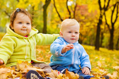 Autumn kids Royalty Free Stock Photos