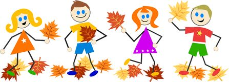 Autumn kids Royalty Free Stock Image