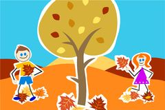 Autumn kids Stock Image