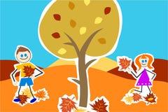 Autumn kids stock illustration