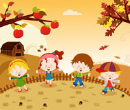Autumn Kids illustration stock