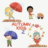 Autumn kids activities. Autumn children outdoor activities. Happy childhood illustrations. Vector set on a white background. Easy to edit, all elements are vector illustration