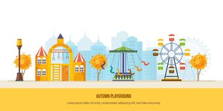 Autumn kids playground. Autumn city park with colorful seasonal leaves. stock illustration