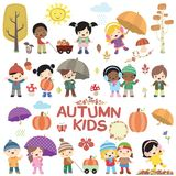 Autumn Children Vector Set. This autumn kids vector set is inspired by autumn. It contains a number of fun elements to help your designing purposes. It elements stock illustration