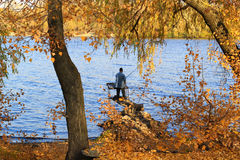 Autumn in Kiev - Indian summer and a fisherman Royalty Free Stock Photography