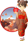 Autumn kimono girl. Cute and kawaii autumn kimono girl at anime style vector illustration